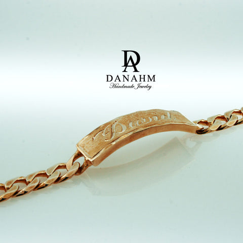 Image of Royal Nameplate Bracelet for Men, 18 KT Rose Gold Plated, Personalized, Hand Engraved in English