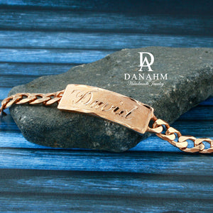Royal Nameplate Bracelet for Men, 18 KT Rose Gold Plated, Personalized, Hand Engraved in English