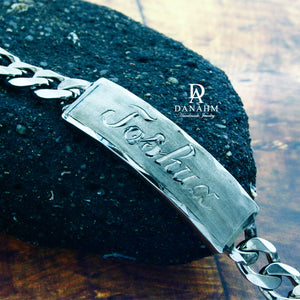 Royal ID Bracelet for Men, Black Silver Plated, Personalized, Hand Engraved in English