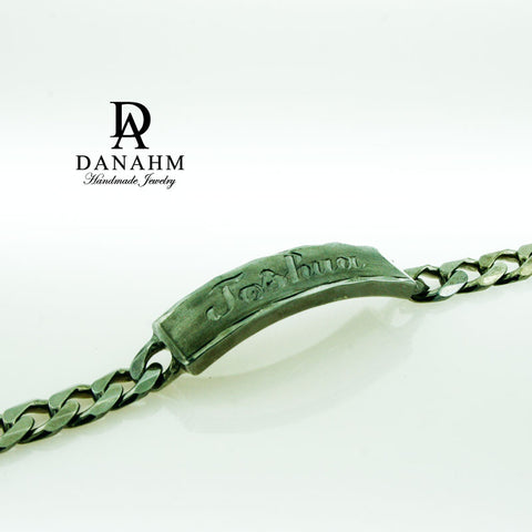 Image of Royal ID Bracelet for Men, Black Silver Plated, Personalized, Hand Engraved in English
