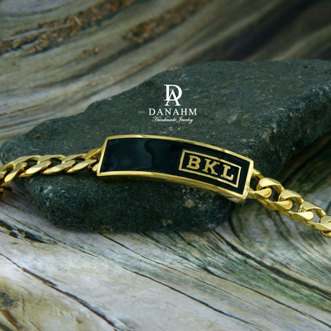 18 KT Gold Plated Royal Initials Bracelet with Black Enamel, Personalized in English