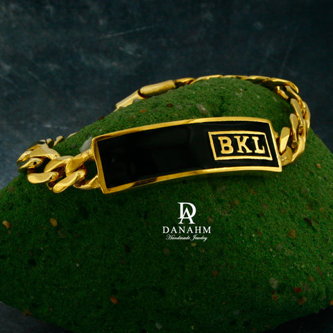 Image of 18 KT Gold Plated Royal Initials Bracelet with Black Enamel, Personalized in English