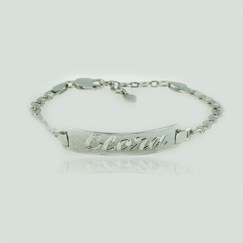 Image of White Gold Plated Nameplate Bracelet, Personalize in English & Arabic, Slim Round
