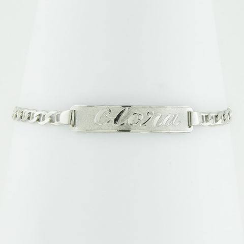 White Gold Plated Nameplate Bracelet, Personalize in English & Arabic, Slim Round