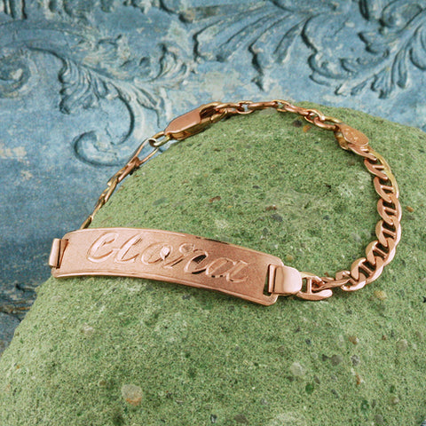 Image of Rose Gold Plated Name Bracelet, Personalize in English & Arabic, Slim Round