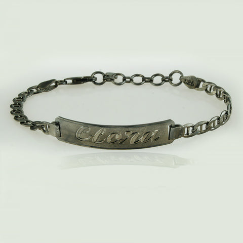 Black Silver Custom Nameplate Bracelet, Personalize in English & Arabic, Slim Round
