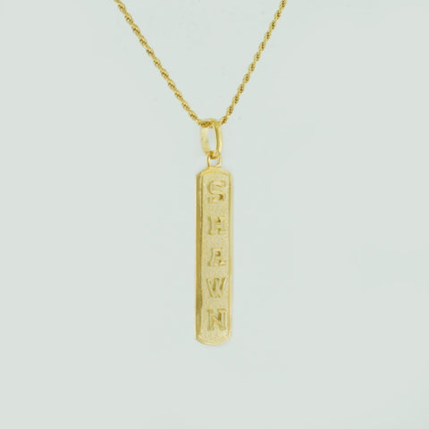 Egyptian Cartouche Necklace, Yellow Gold Plated Nameplate,  Initial Necklace, Personalized in English & Hieroglyphs, Slim