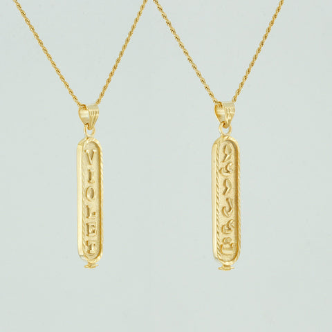 Yellow Gold Cartouche Necklace with Custom Names on Both Sides, Personalized in English & Arabic, Flat Round