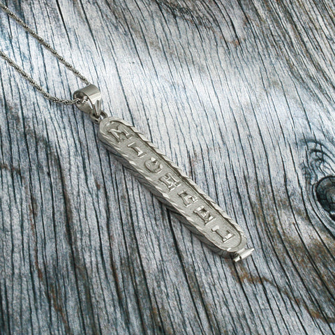 Image of White Gold Plated Cartouche Necklace, Personalized in English & Hieroglyphs, Flat Round