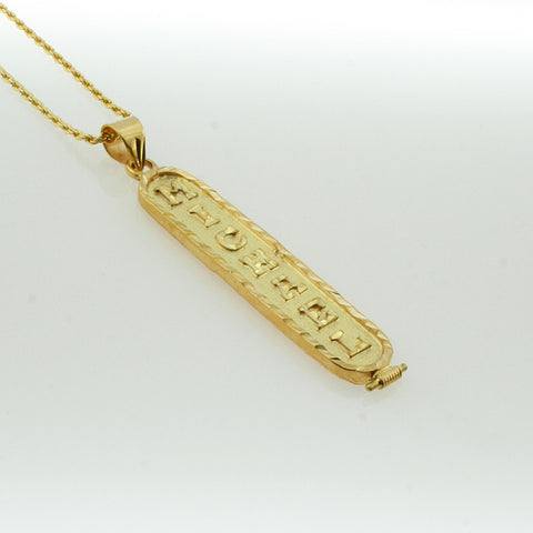 Gold Filled Cartouche Necklace, Personalized in English & Hieroglyphs, Flat Round