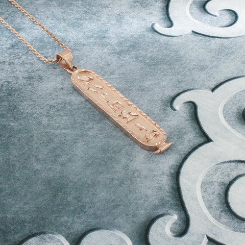Rose Gold Plated Cartouche Necklace, Personalized in English & Hieroglyphs, Flat Round