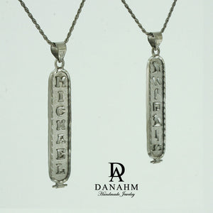 Black Silver Cartouche Necklace, Personalized in English & Hieroglyphs, Flat Round