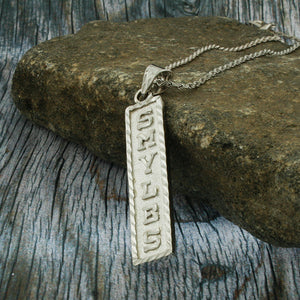 Arabic Cartouche,  Monogram Necklace, Cartouche Necklace, Personalized in English & Arabic, Flat Square