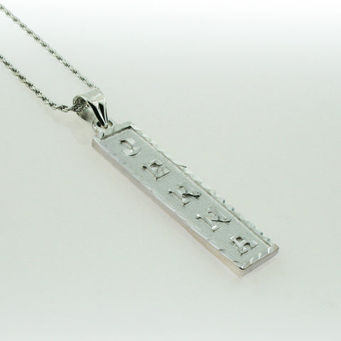White Gold Plated Cartouche Necklace, Personalized in English & Hieroglyphs, Flat Square