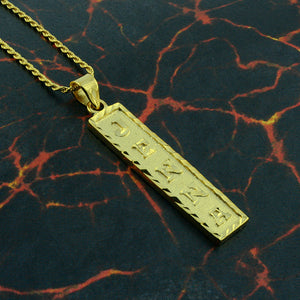 Gold Plated Cartouche Necklace, Personalized in English & Hieroglyphs, Flat Square