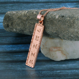 Rose Gold Plated Cartouche Necklace, Personalized in English & Hieroglyphs, Flat Square