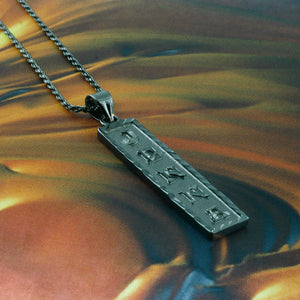 Black Silver Cartouche Name Necklace, Personalized in English & Hieroglyphs, Flat Square