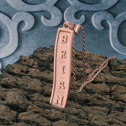 Image of Rose Gold Plated Nameplate Necklace,  Silver Name Necklace, Egyptian Necklace, Personalized in English & Hieroglyphs, Flat Scroll
