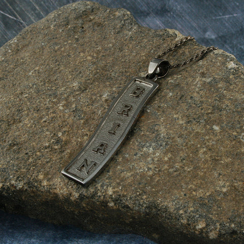 Monogram Necklace,  Men Necklace,  Egyptian Cartouche, Personalized in English & Hieroglyphs, Flat Scroll