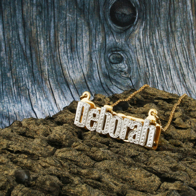 Nameplate Necklace, White & Yellow Gold Plated, Silver, Personalized Name in English Block Letters