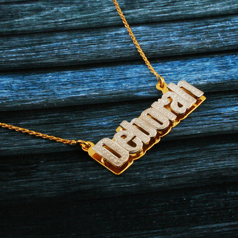 Image of Nameplate Necklace, White & Yellow Gold Plated, Silver, Personalized Name in English Block Letters