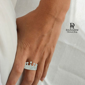 White Gold Silver Queen Ring with Desert Diamonds, Princess Ring, Crown Ring