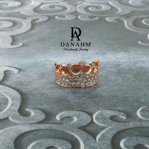 Rose Gold Silver Queen Ring with Desert Diamonds, Princess Ring, Crown Ring