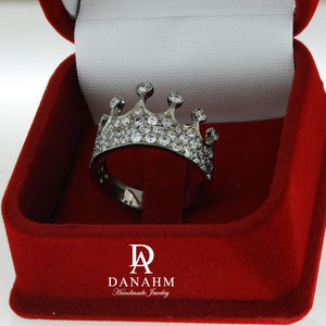 Black Silver Queen Ring with Desert Diamonds, Princess Ring, Crown Ring