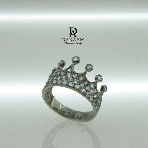 Image of Black Silver Queen Ring with Desert Diamonds, Princess Ring, Crown Ring