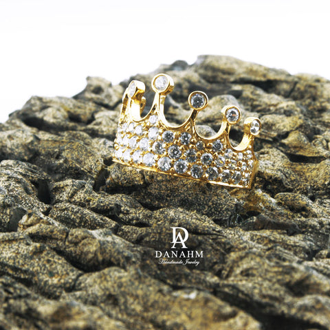 Image of Yellow Gold Silver Queen Ring with Desert Diamonds, Princess Ring, Crown Ring