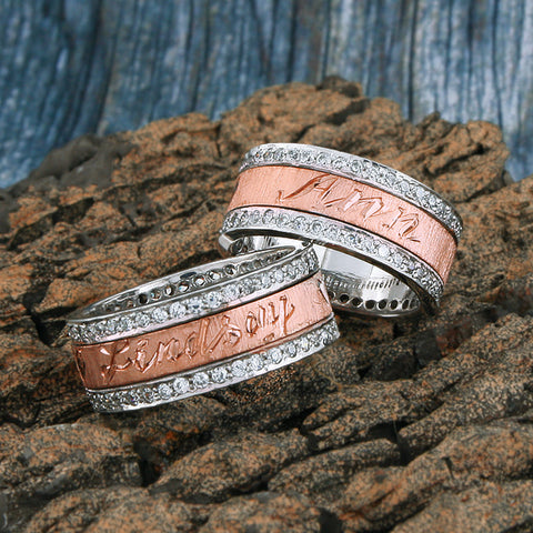 Image of 18 KT Rose Gold Spinning Band, Personalized Name in English & Arabic, Desert Diamonds