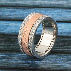 18 KT Rose Gold Spinning Band, Personalized Name in English & Arabic, Desert Diamonds