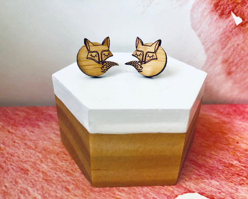 'Sleepy Foxes' Mini Stud Earrings