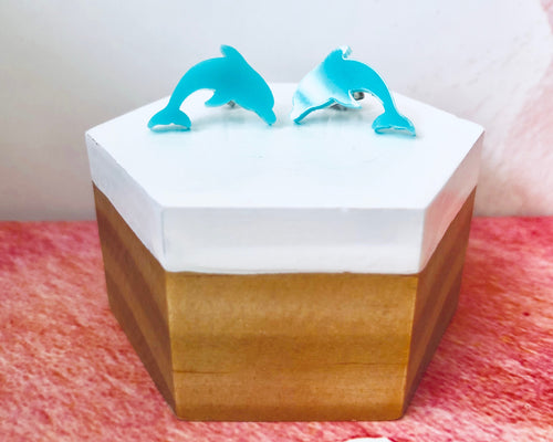 'Jumping Dolphins' Mini Stud Earrings