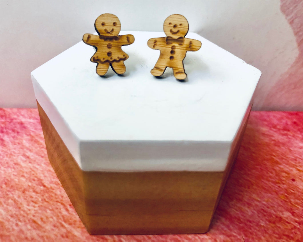 'Mr & Mrs Gingerbread' Mini Stud Earrings