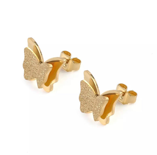 Sparkling Gold Mini Butterfly Stud Earrings
