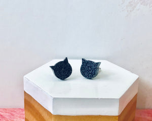 'Black Cat' Mini Stud Earrings