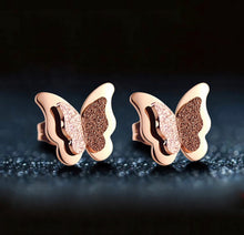 Load image into Gallery viewer, Sparkling Rose Gold Mini Butterfly Stud Earrings