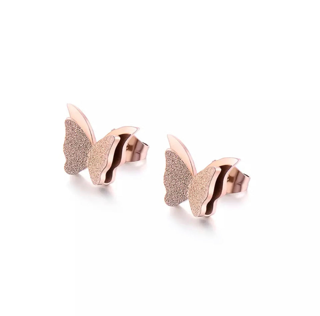 Sparkling Rose Gold Mini Butterfly Stud Earrings