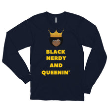 Load image into Gallery viewer, Black, Nerdy and Queenin' Long sleeve t-shirt - Confessions From a Red Couch