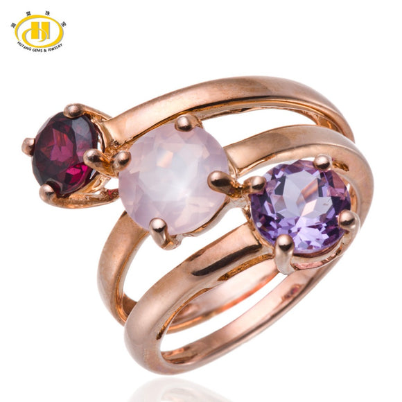 Hutang Solid 925 Sterling Silver Ring Rose Quartz, Amethyst, Garnet Gemstone Fine Jewelry