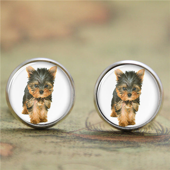 10pairs/lot  Yorkie earring , Yorkshire Terrier cute dog earring Glass Photo dog earring