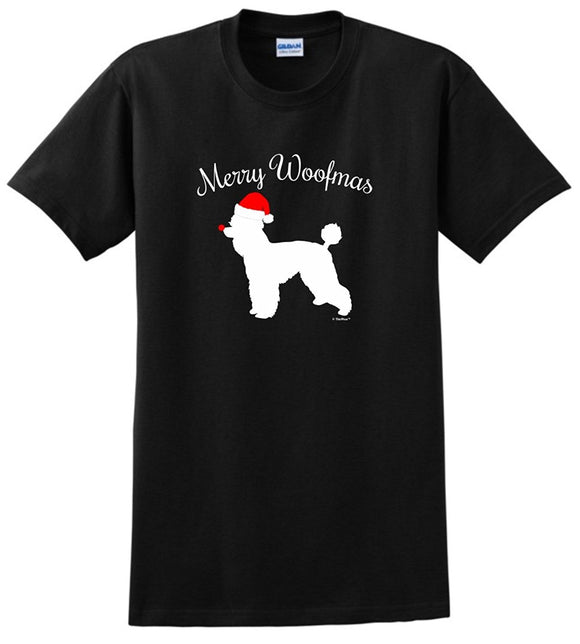 2017 New Brand Crew Neck Merry Woofmas Dog Santa Hat Poodle Christmas Short-Sleeve Premium Womens Tee Shirts