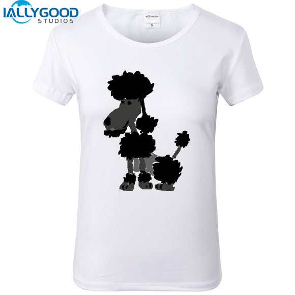 New Summer Fashion Funny Artsy Black Poodle Dog Art T-Shirts Women Cute Print White Tops Soft Cotton Slim Women T Shirts S1161