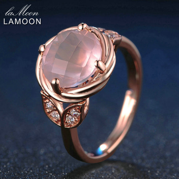 LAMOON Flower 9mm 100% Natural Round Pink Rose Quartz Ring 925 Sterling Silver Jewelry  Romantic Wedding Band LMRI016
