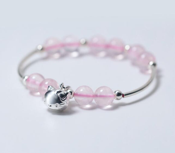 Cute 100% Real. 925 Sterling Silver Jewelry Natural Rose Quartz & Kitten Cat Cuff Bracelet Thin bangle Animal Charms GTLS331