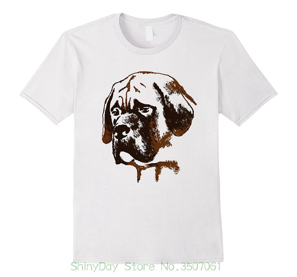 Classic Cotton Men Round Collar Short Sleeve English Mastiff Dog T Shirt I Love English Mastiff