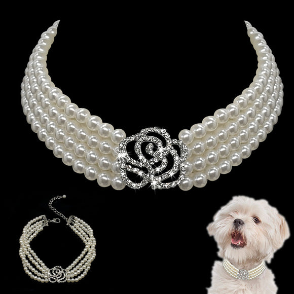 Fashion Pet Puppy Small Dog Jewellery Necklace Party Pearl Collar With Rhinestone Accessories For Chihuahua Yorkie S M L
