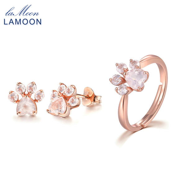 LAMOON Real 925-Sterling-Silver 2PCS Bear's Paw Jewelry Sets Natural Gemstone Rose Quartz S925 Fine Jewelry For Women V035-9