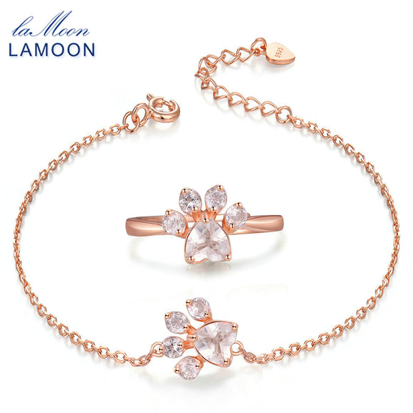 LAMOON New 925-Sterling-Silver 2PCS Bear's Paw Jewelry Sets Natural Gemstone Rose Quartz S925 Fine Jewelry For Women Gift V035-5